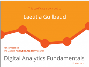 certificat google analytics laetitia guilbaud